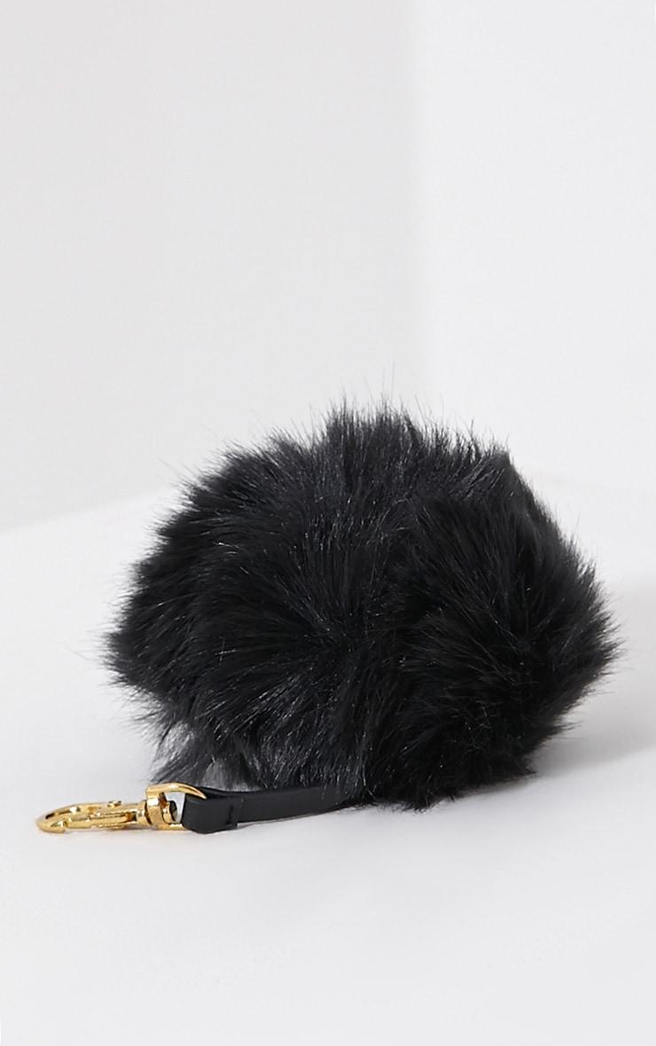 Milly Black Fur Pom Pom Key Chain 3