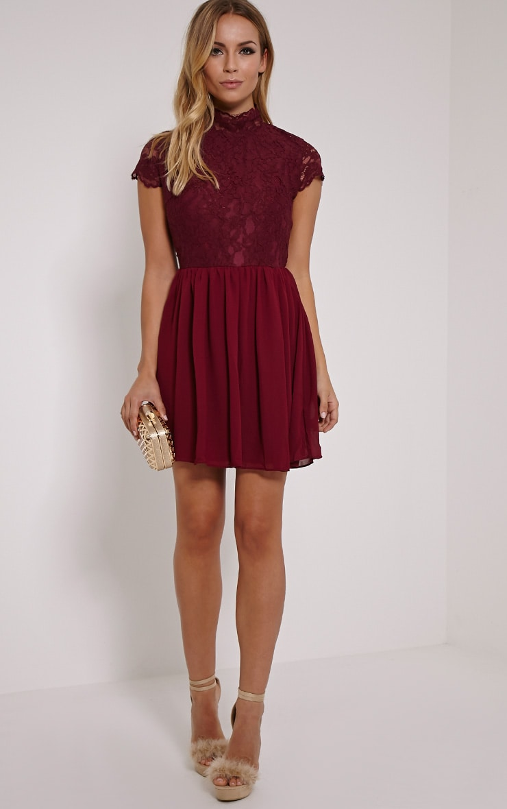 Ella Burgundy High Neck Lace Skater Dress 3