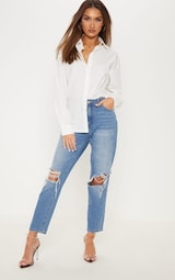 fdfc8889b White Button Cotton Oversized Shirt image 4