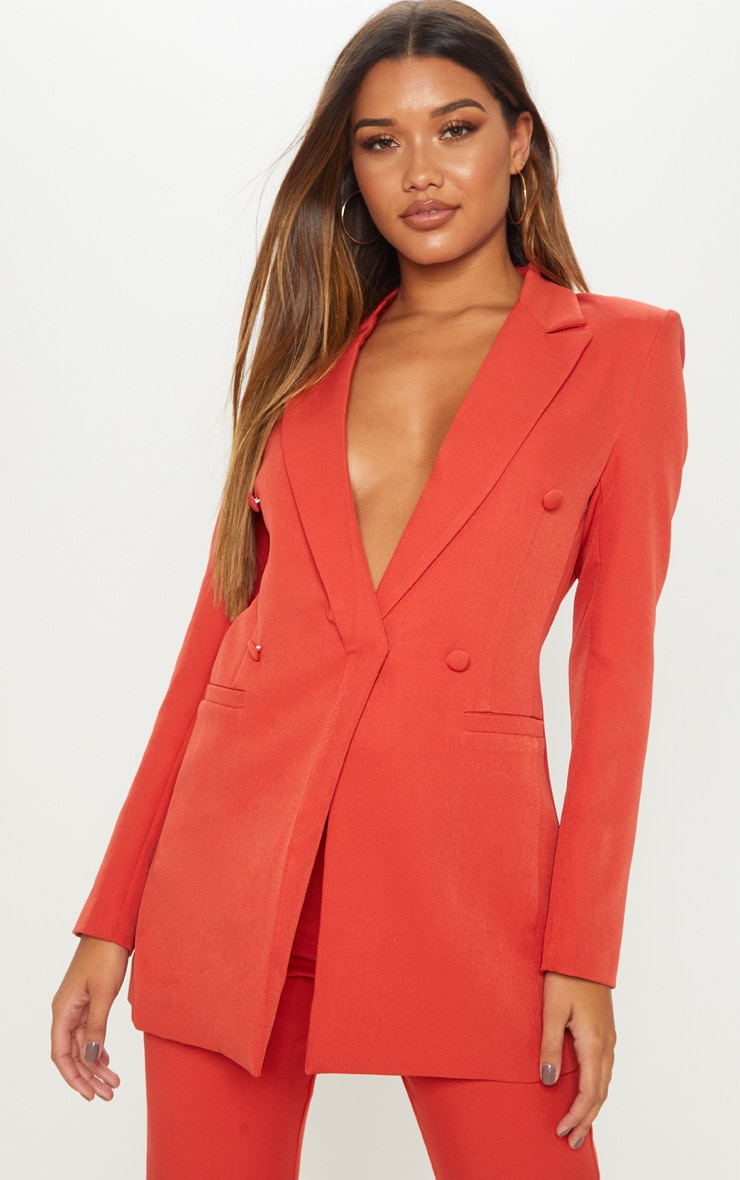 Rust Double Breasted Woven Blazer 2