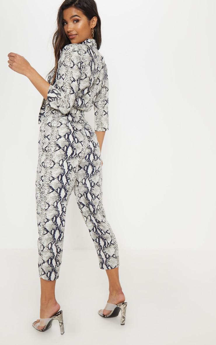 Grey Snake Print Tie Detail Jumpsuit 2