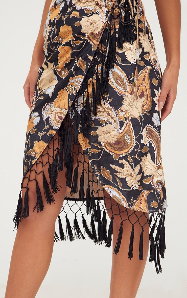Black Floral Velvet Wrap Over Tassel Trim Midi Dress 5