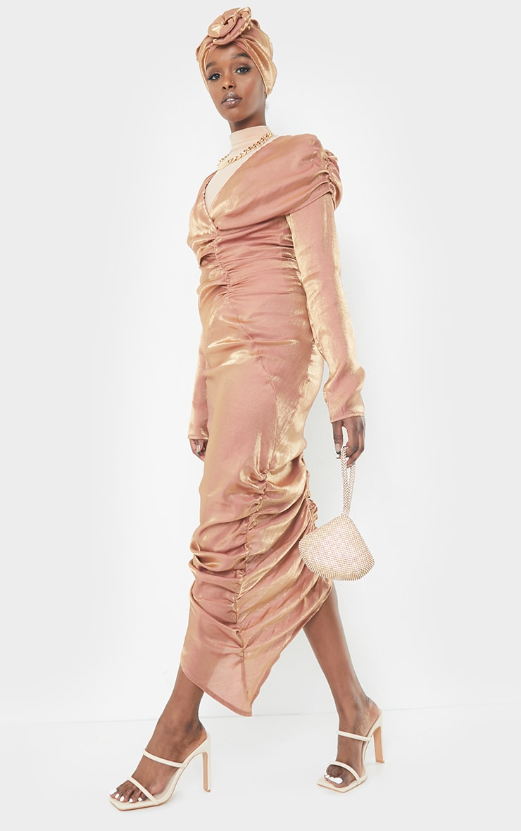 Bronze Metallic Ruched Wrap Midaxi Dress 3