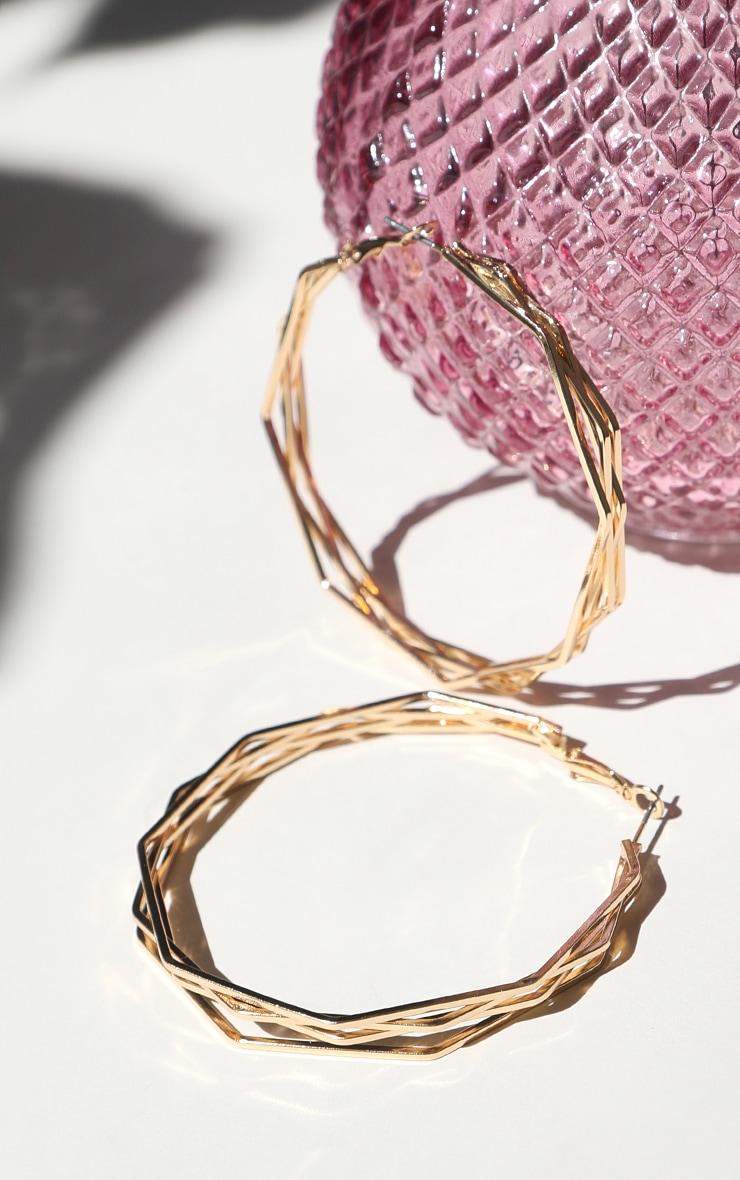 Gold Triple Hexagon Hoop Earring 1