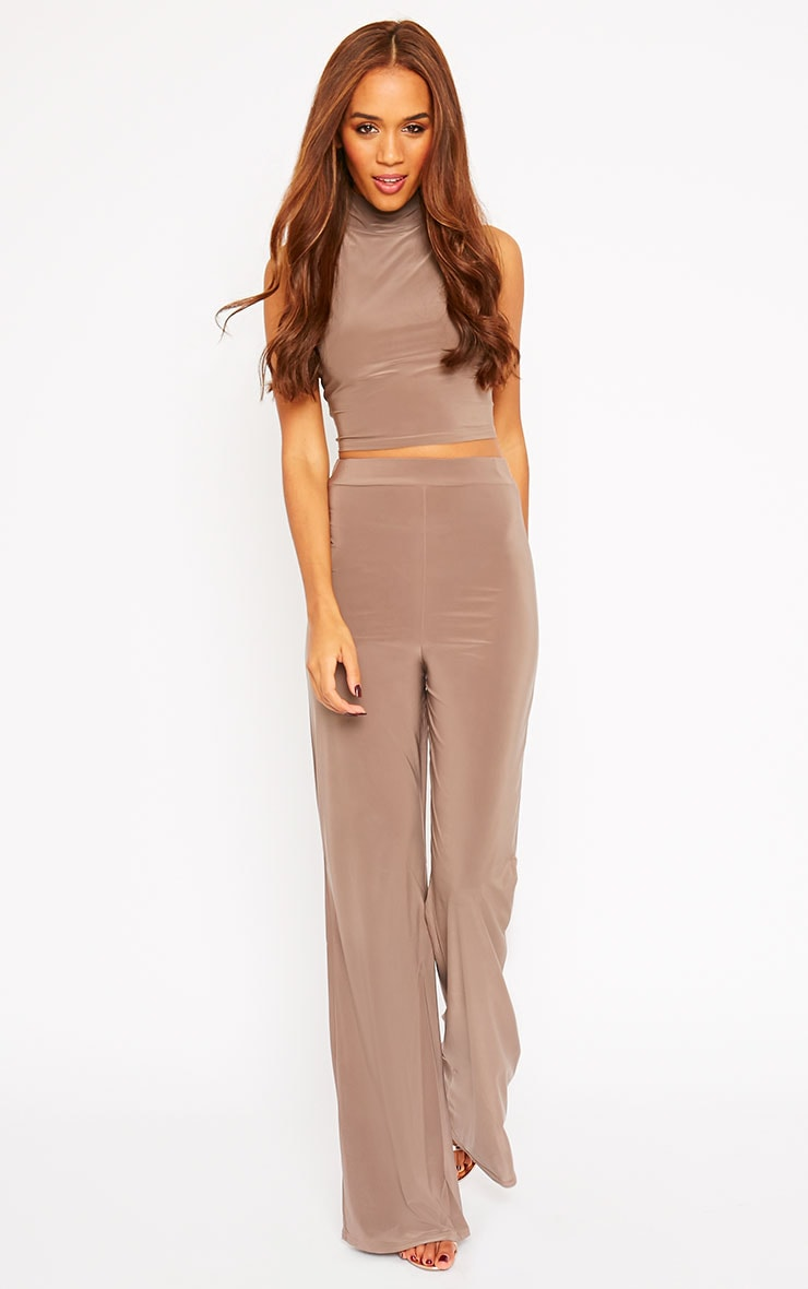 Remi Mocha Soft Touch Wide Leg Trousers 1