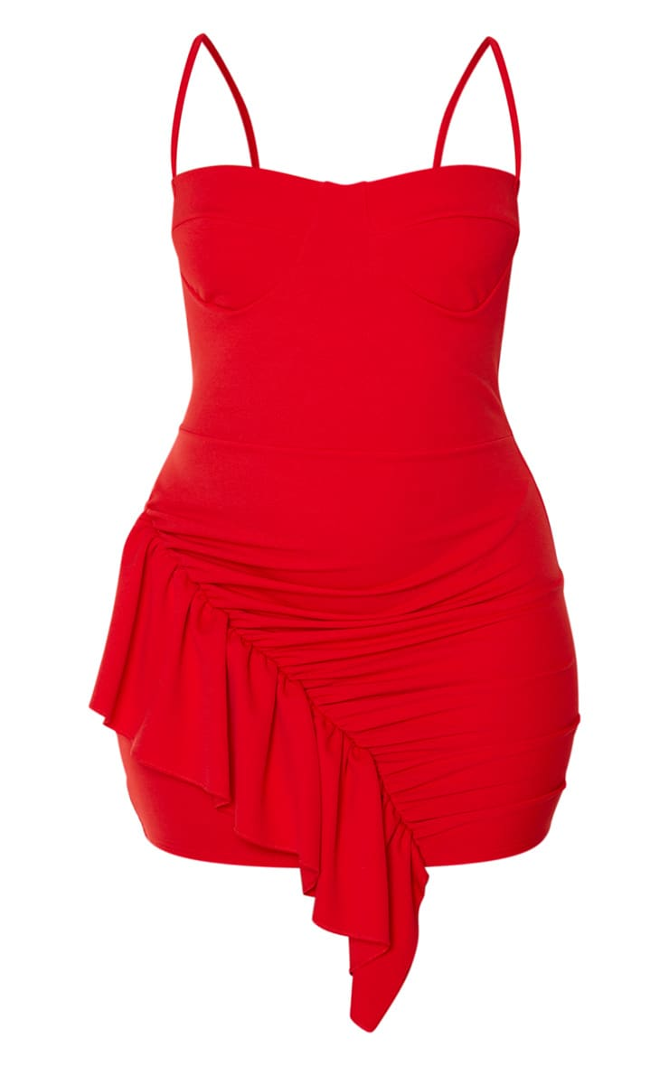Red Strappy Ruched Frill Hem Detail Bodycon Dress 3