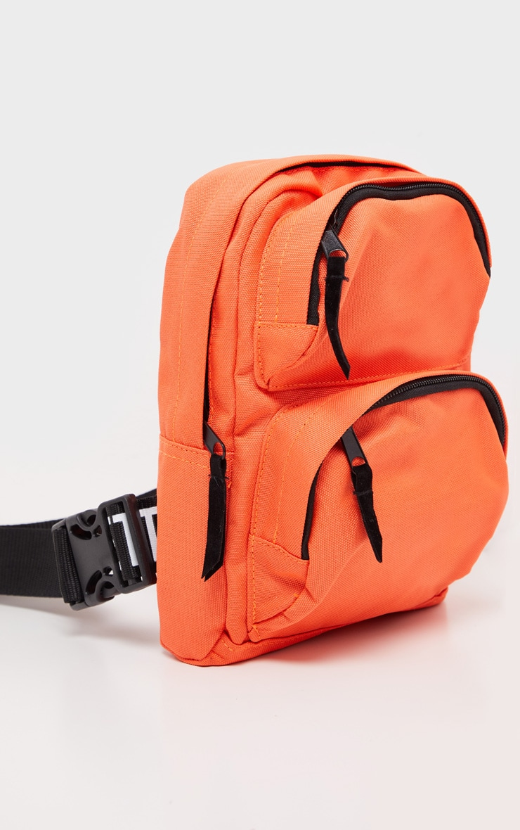 PRETTYLITTLETHING Neon Orange Nylon Front Rucksack 3