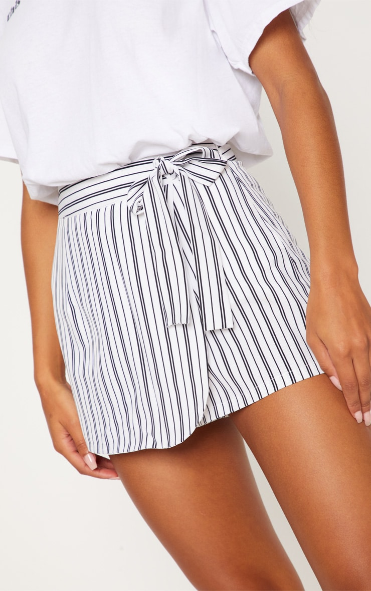 Monochrome Stripe Side Tie Skort 6