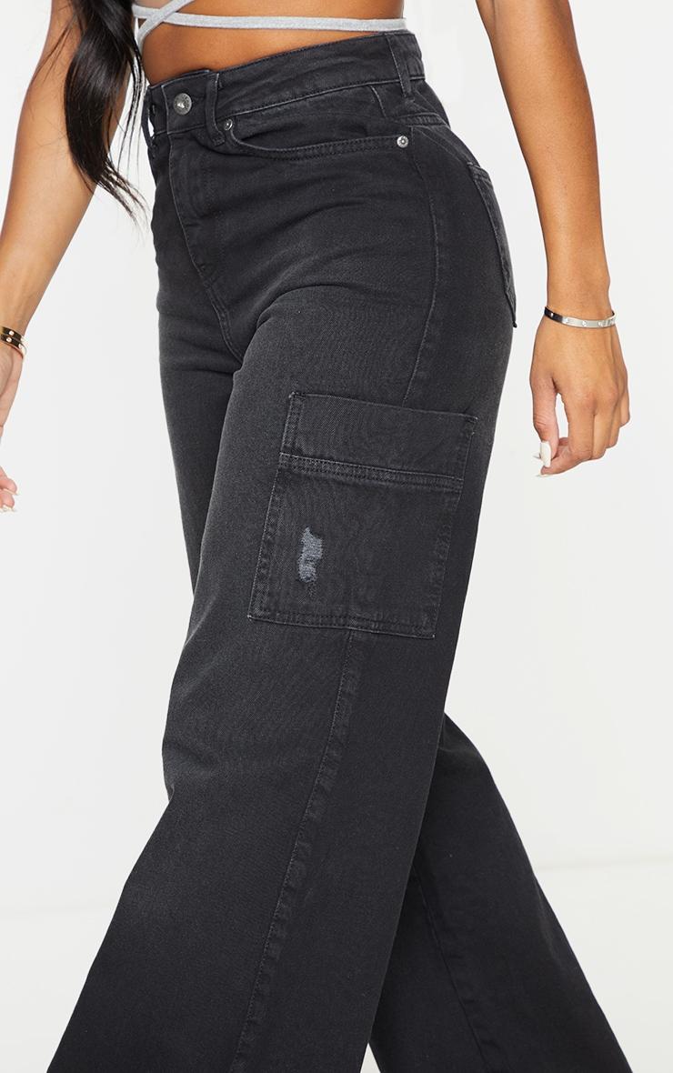 Shape Black Pocket Detail Wide Leg Jeans 4