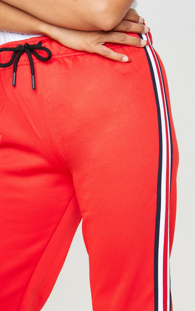 Red Tapered Side Stripe Jogger 5