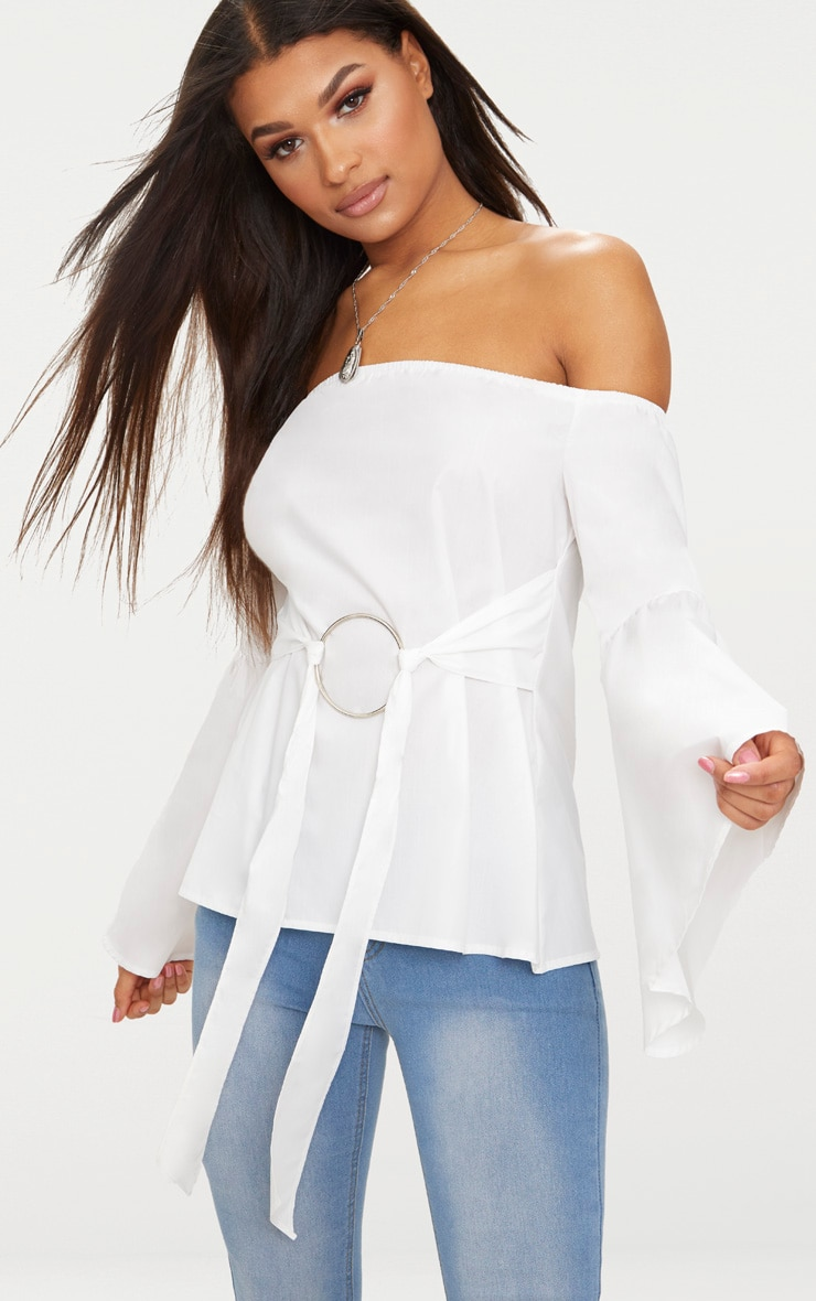 White Bardot O Ring Shirt  1