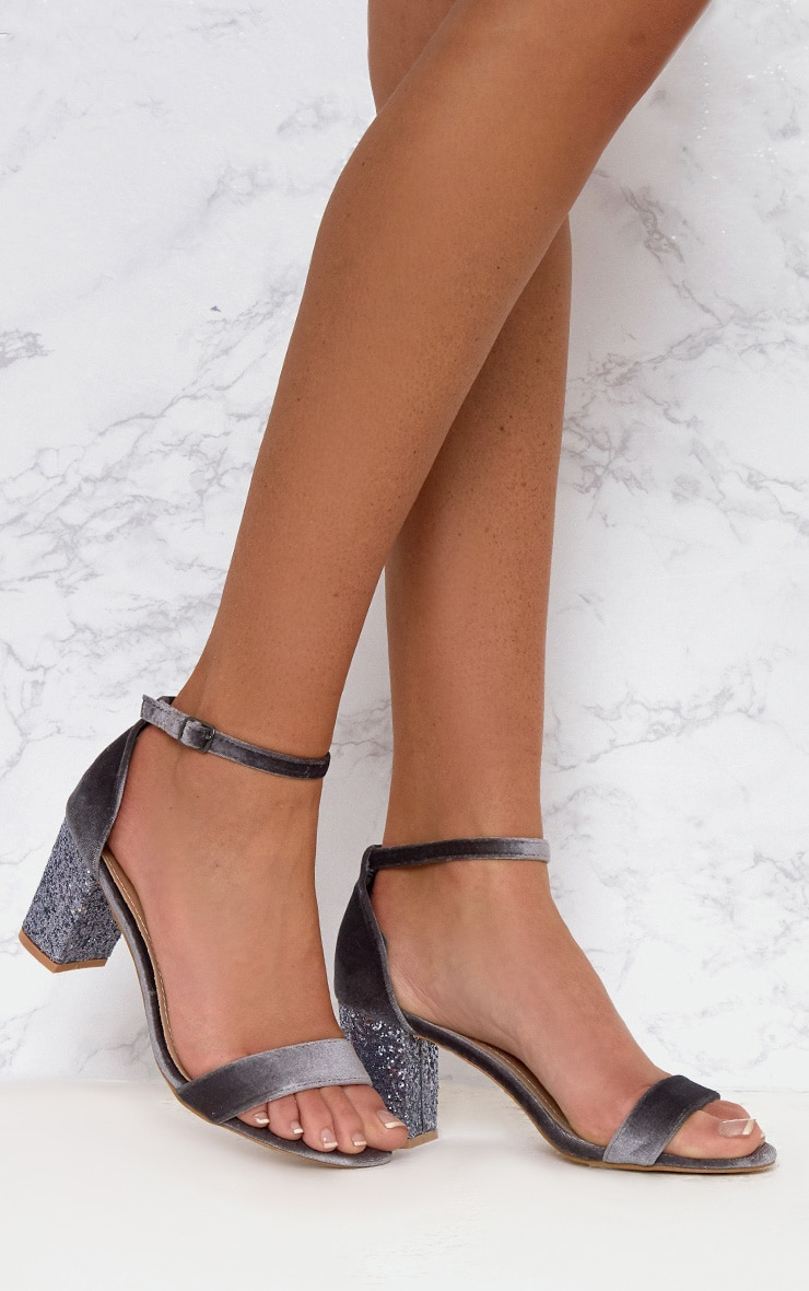 Grey Glitter Low Heeled Sandals  1