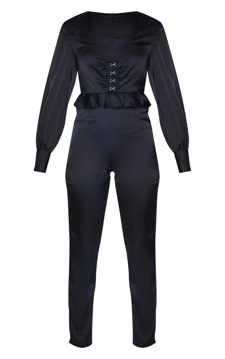 Black Corset Frill Detail Long Sleeve Jumpsuit 3