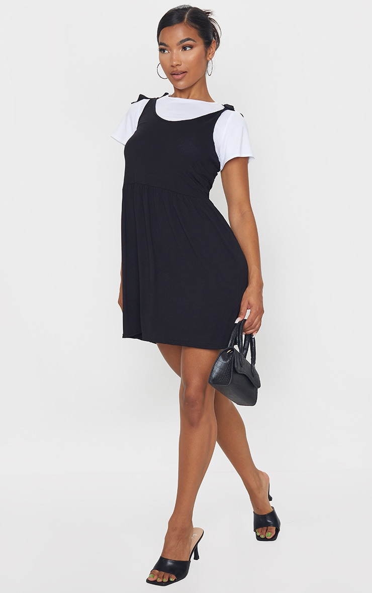 Black 2 in 1 Strappy Tie Strap Detail Shift Dress 3
