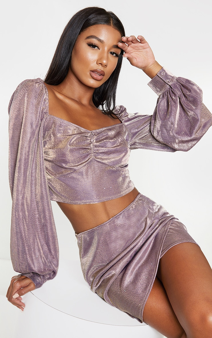 Lilac Textured Glitter Woven Square Neck Puff Sleeve Crop Top 1