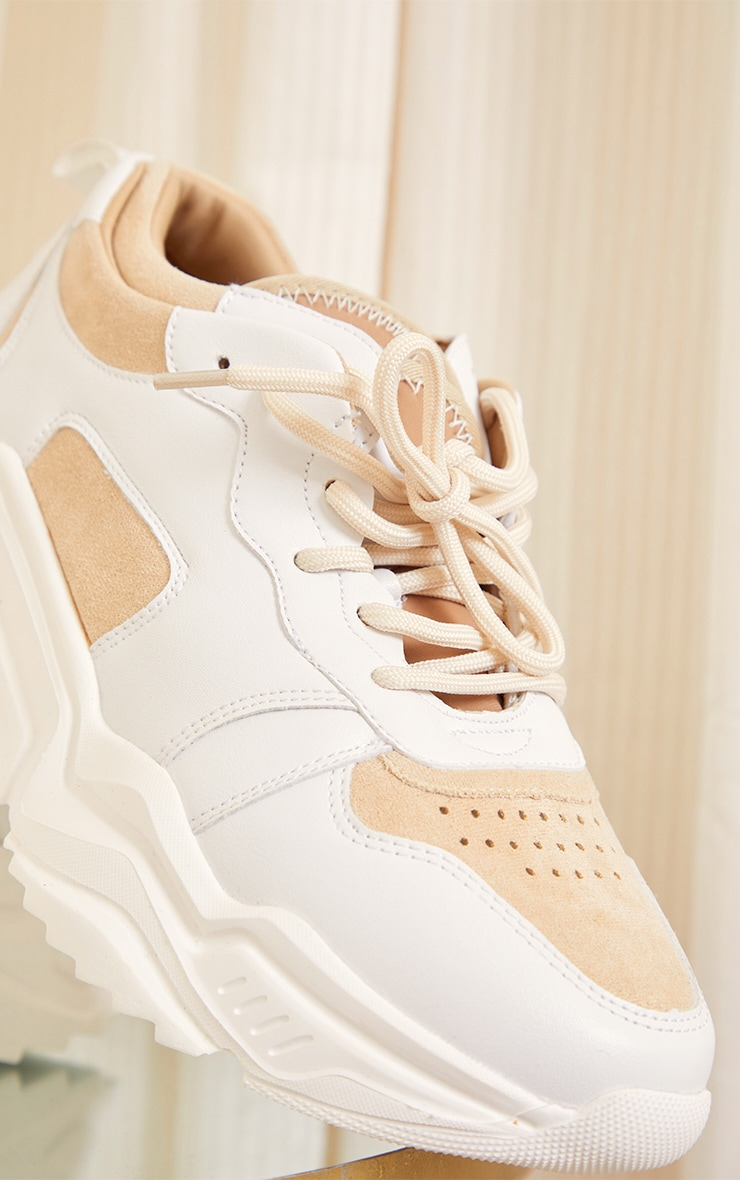Sand Chunky Diagonal Cleated Sole Sneakers 4