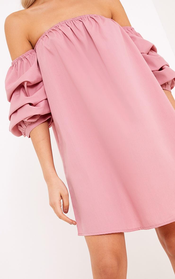 Lucinndar Cotton Ruched Bardot Sleeve Shift Dress Pink 5