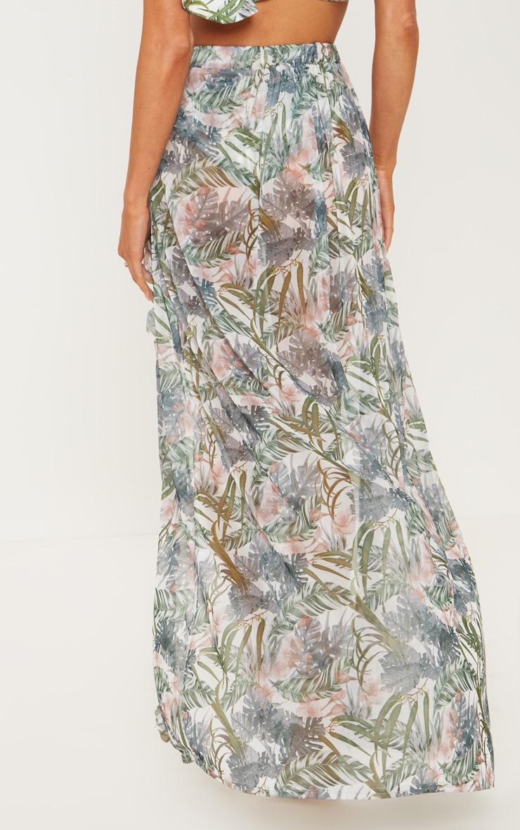 Pale Khaki Leafy Frill Split Maxi Skirt 4