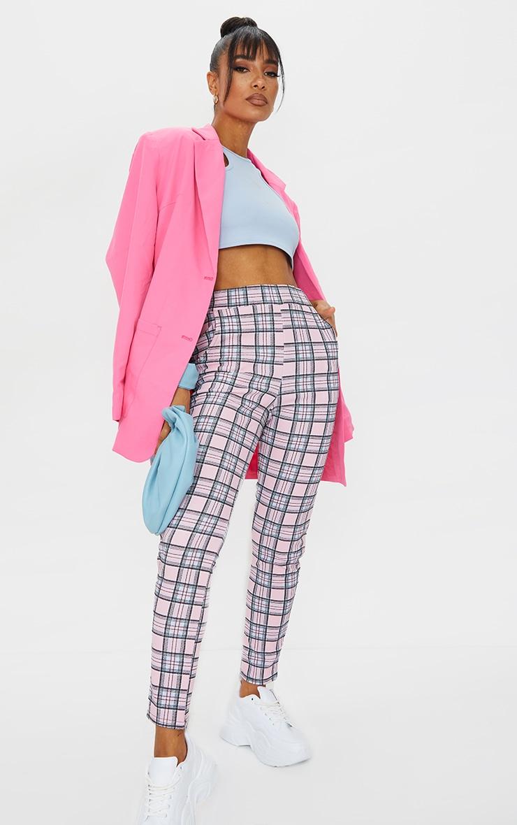 Pink Check Skinny Pants 1