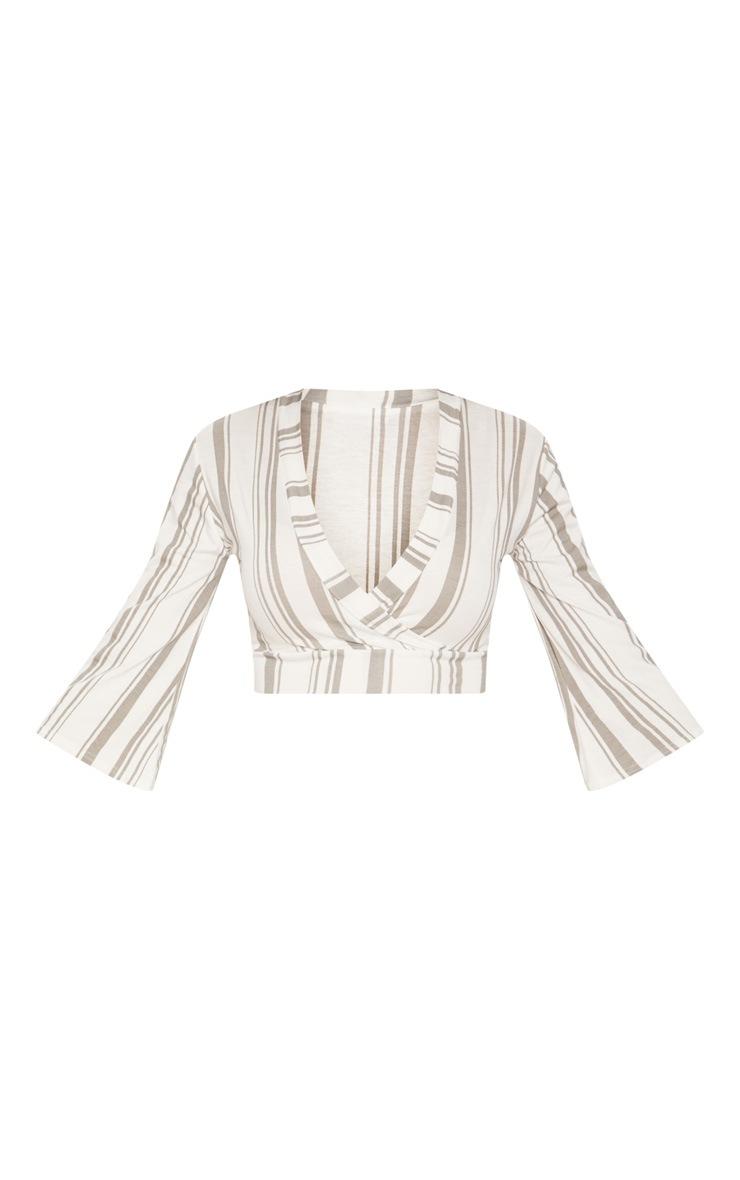 White Stripe Jersey Plunge Detail Crop Top 3