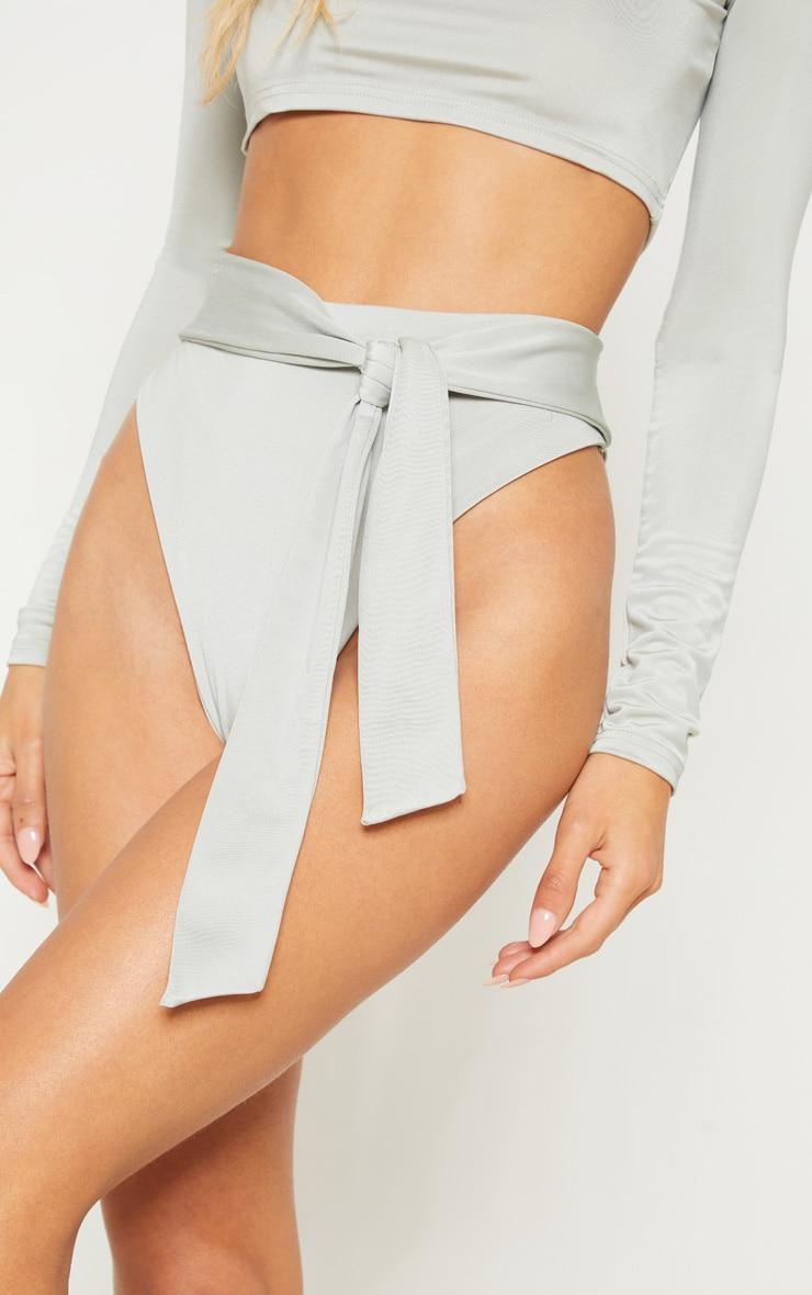 Sage Green High Tie Waist Bikini Bottom 6