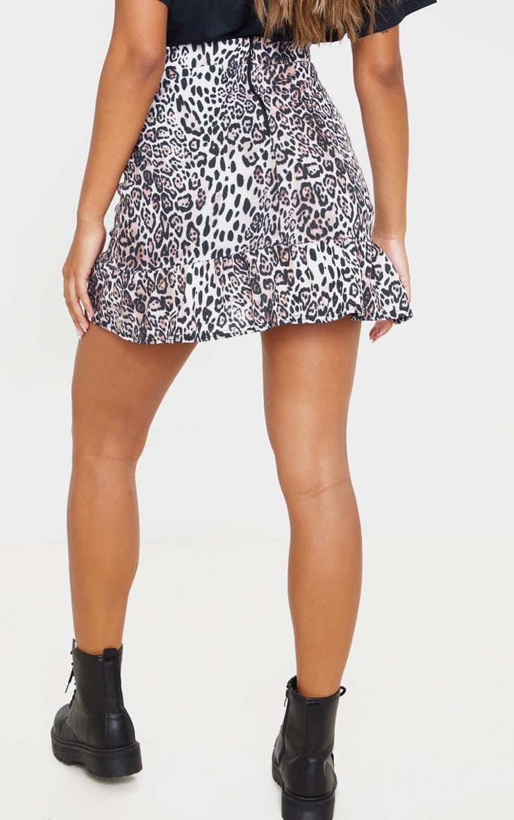 Leopard Print Frill Hem Wrap Mini Skirt 4