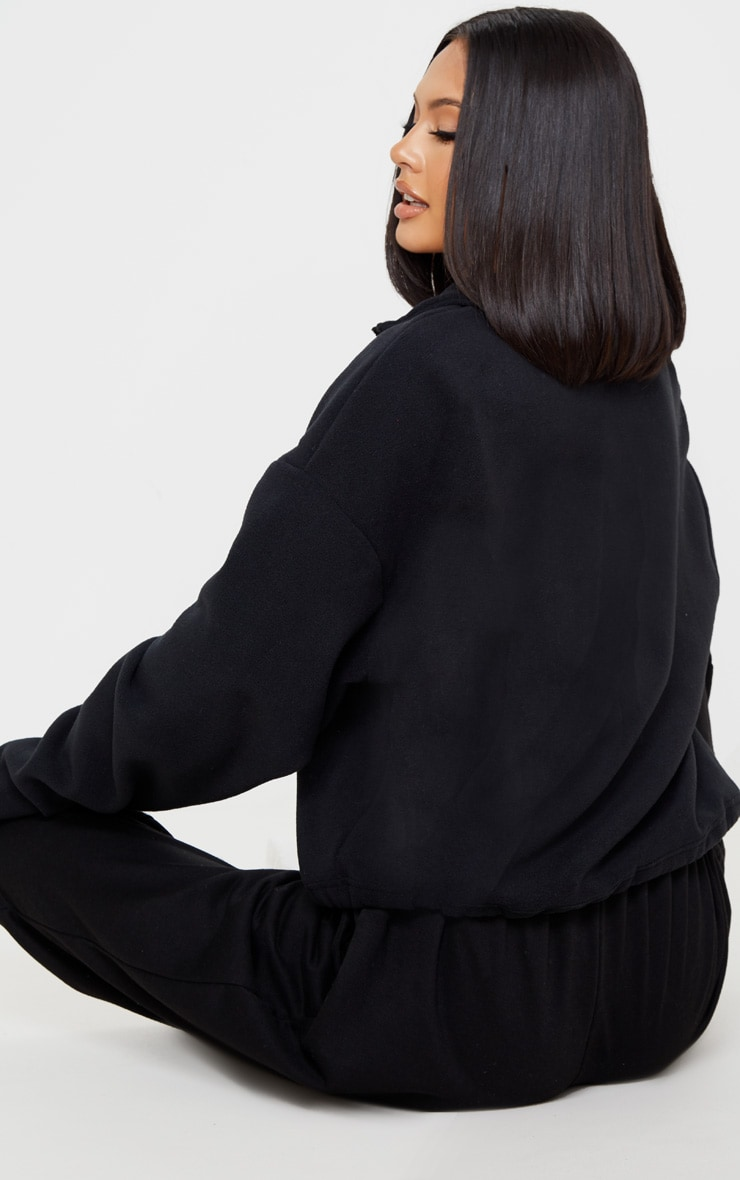Black Zip Front Crop Fleece Sweater 2