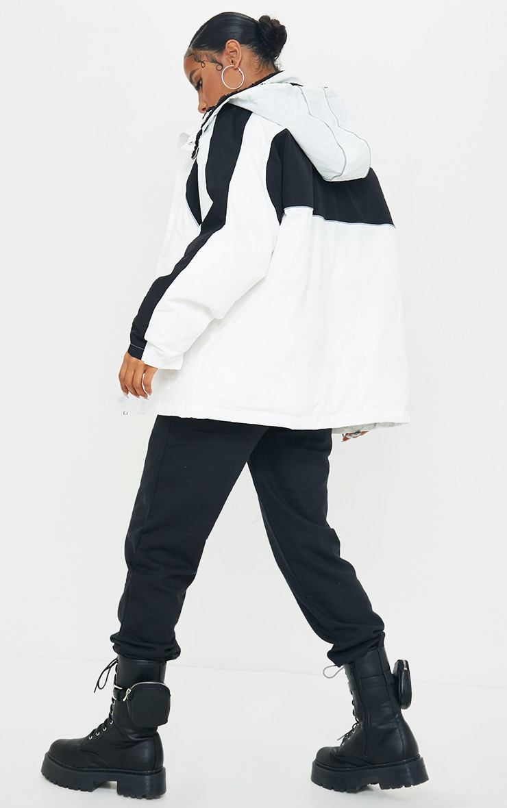 White Padded Contrast Panel Pocket Front Hooded Lined Puffer Coat 2