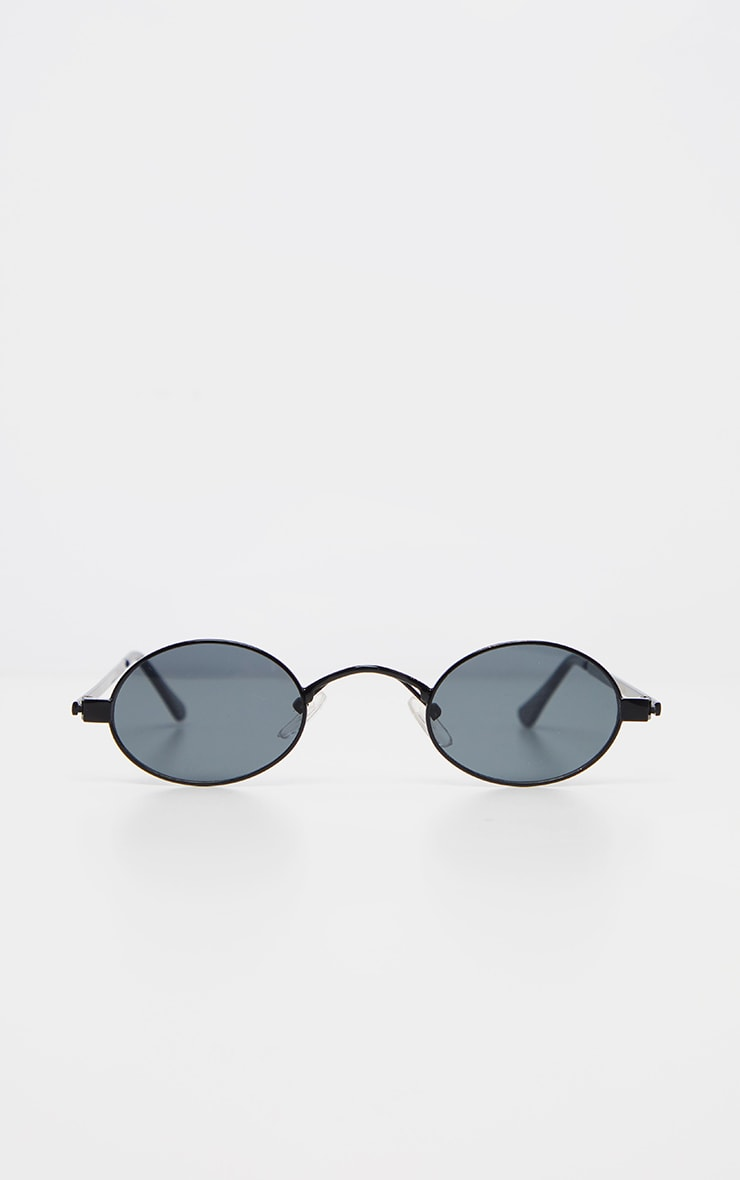 Black Small Squashed Round Lens Sunglasses  2