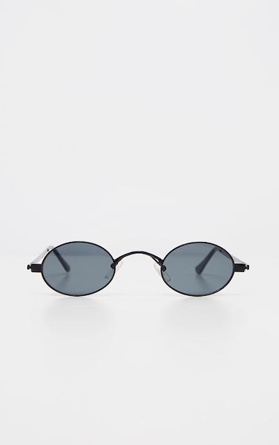 Black Small Squashed Round Lens Sunglasses