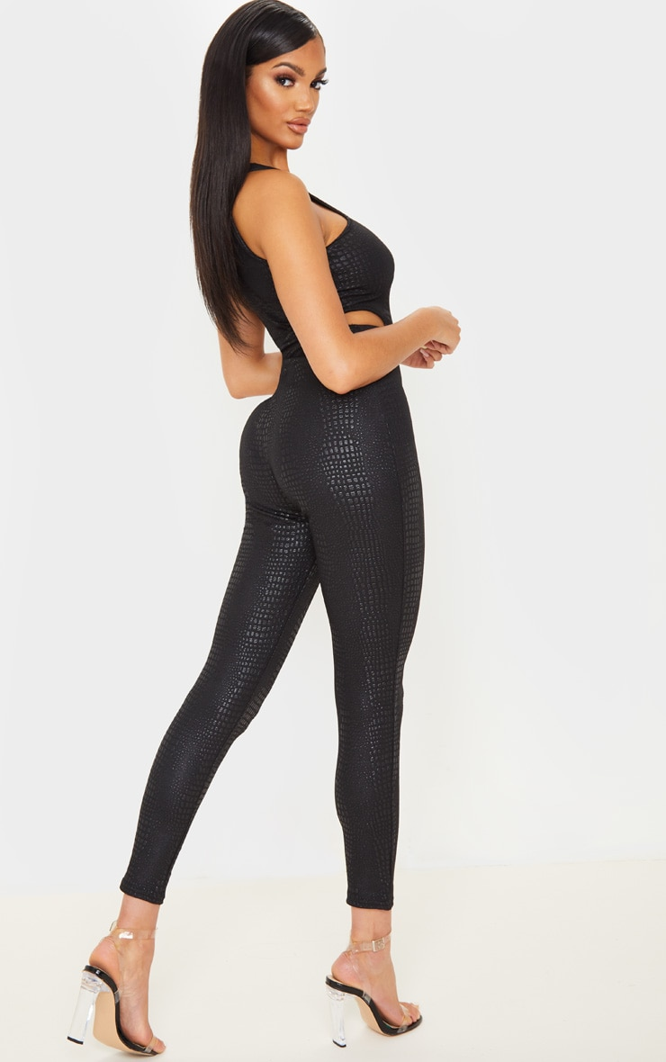 Black Textured Croc Cut Out Jumpsuit 2