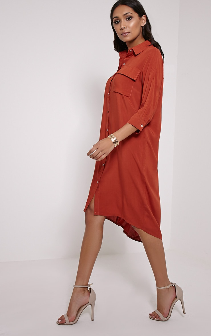Perrin Rust Longline Shirt Dress 3
