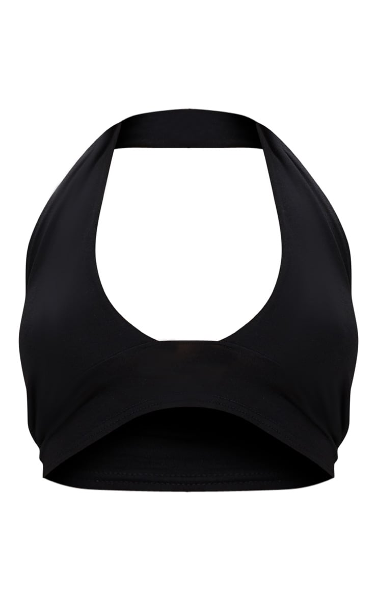 Black Halterneck Jersey Crop Top  2