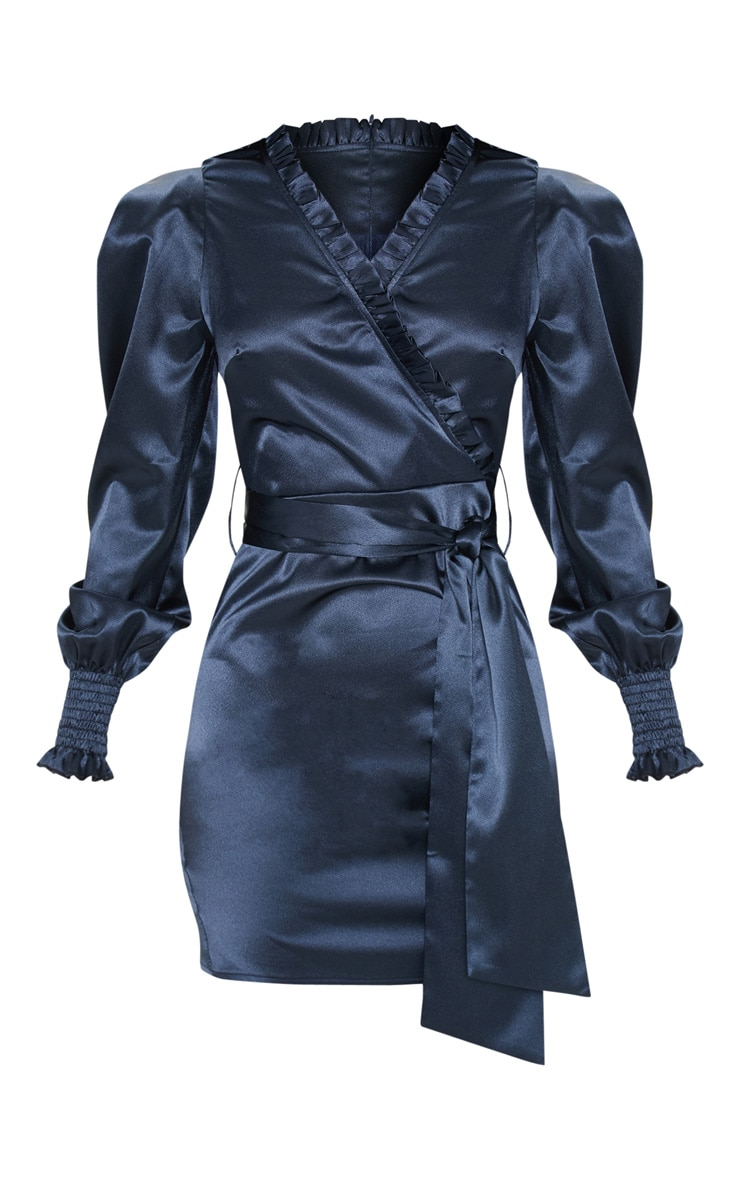 Blue Satin Frill Detail Ruched Bodycon Dress 3
