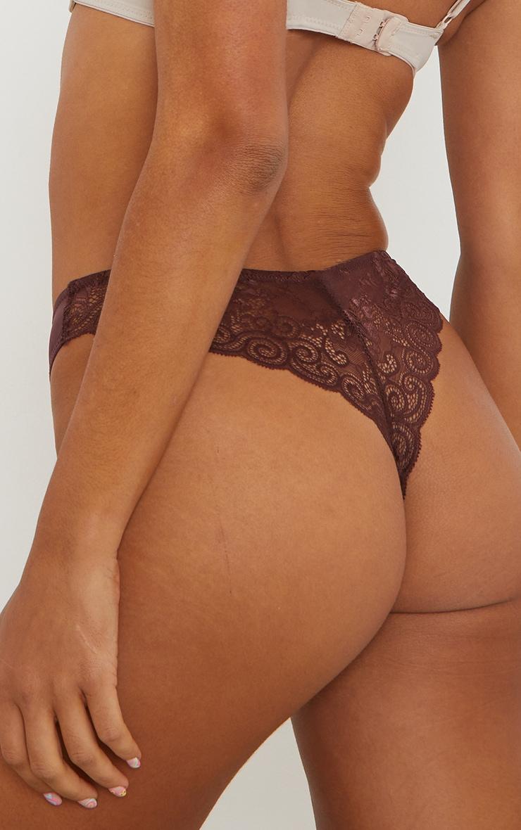 Brown Microfibre Lace Back Brazilian Knicker 3 Pack 2
