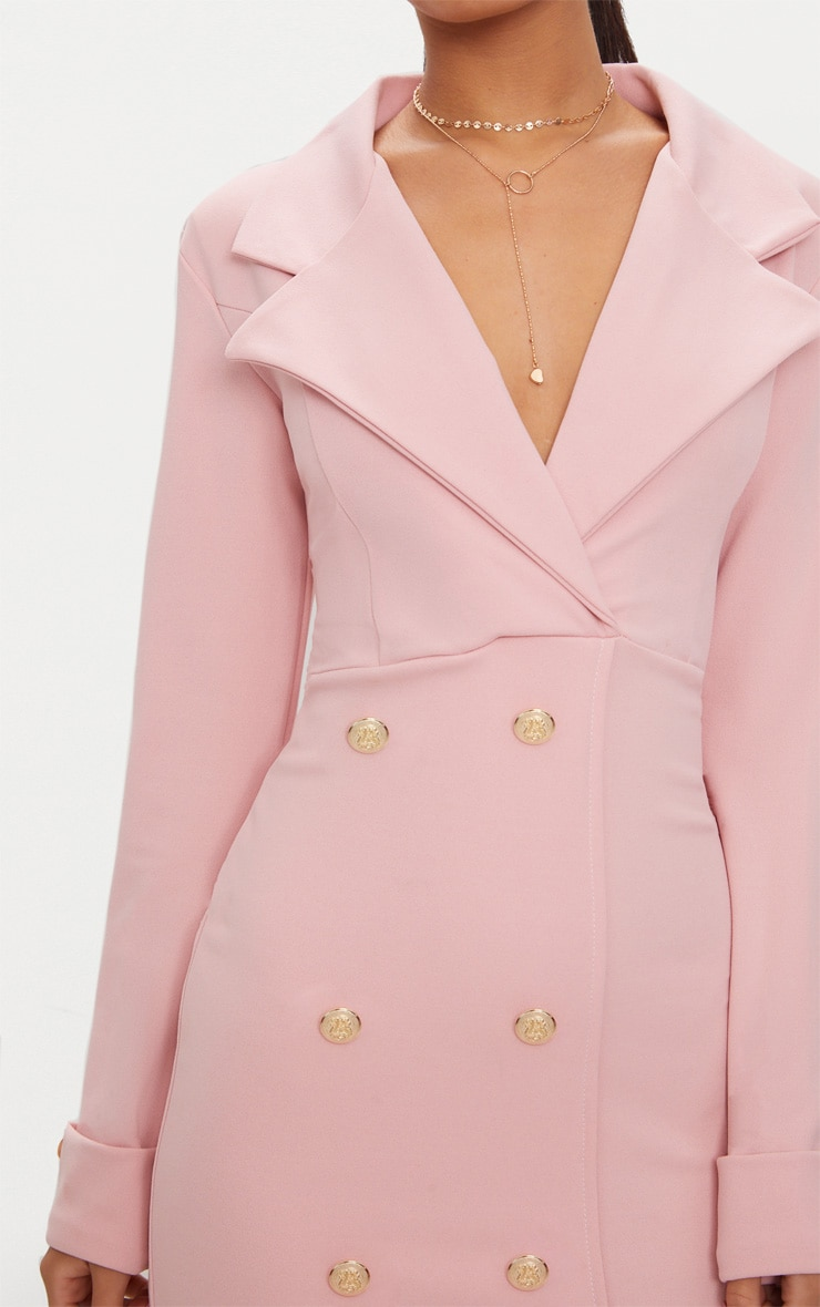 Dusty Pink Gold Button Detail Blazer Dress 5