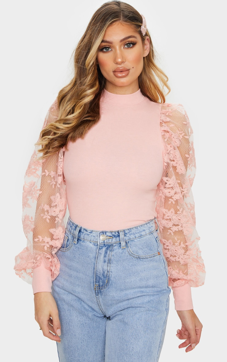 Blush Floral Embroidered Puff Sleeve Rib Long Top 1
