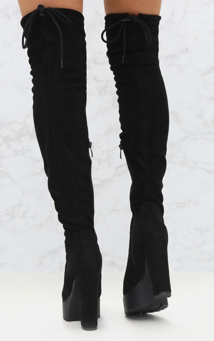 Black Suede Extreme Platform Thigh Boot 4