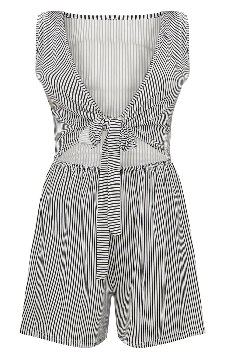 Monochrome Stripe Sleeveless Front Tie Playsuit 3