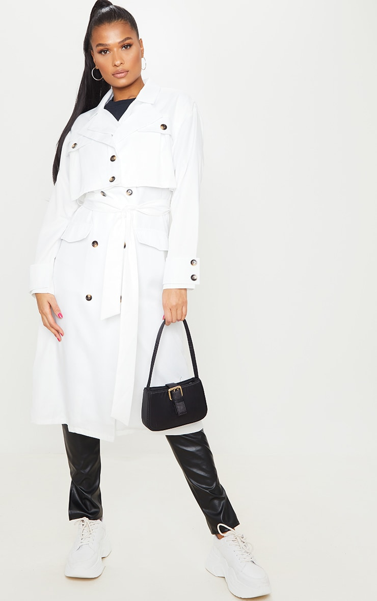 White Oversized Belted Trench Coat 3