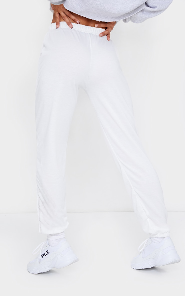Cream Basic Cuffed Hem Joggers 3