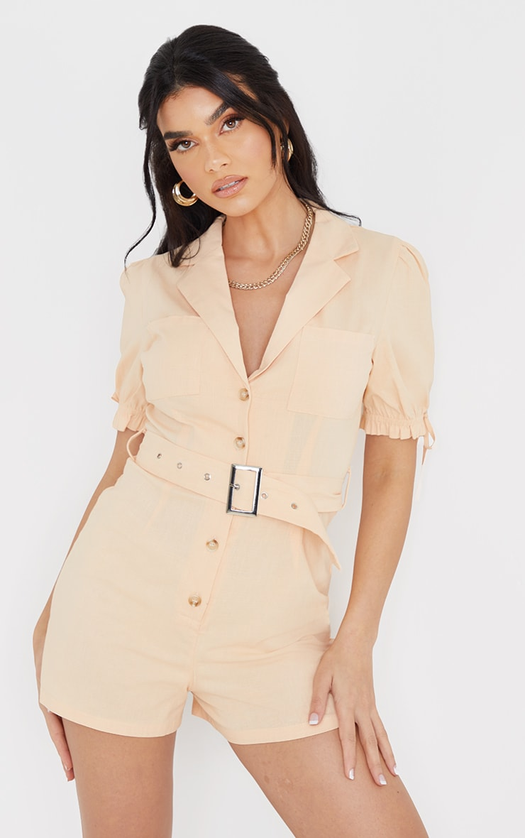 Peach Linen Look Puff Sleeve Belted Romper 1