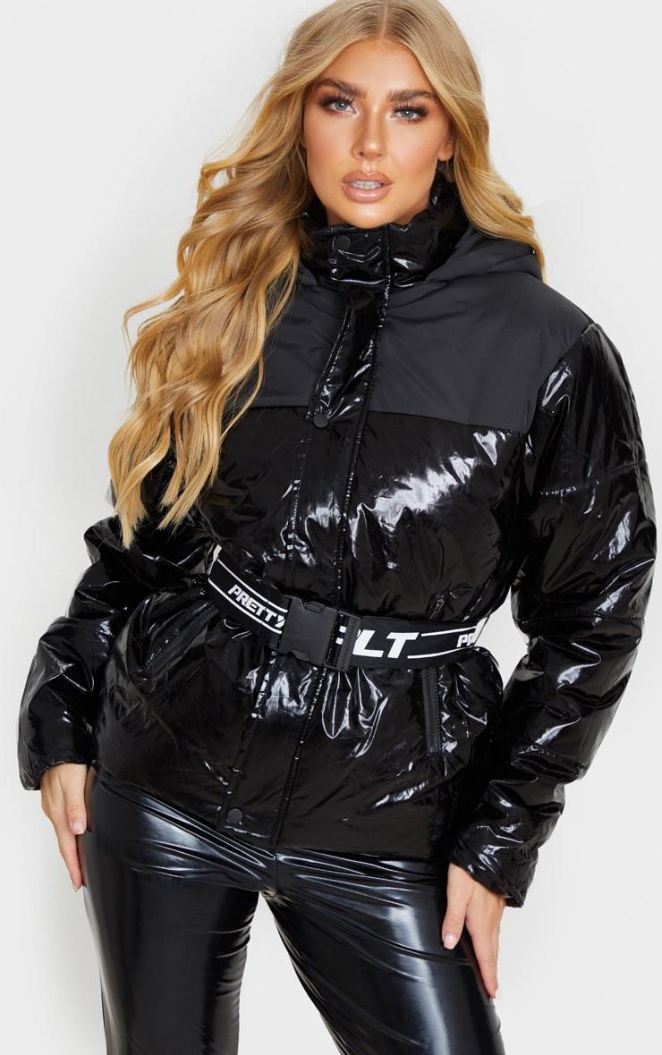 PRETTYLITTLETHING Black Metallic Contrast Panel Puffer Jacket 1