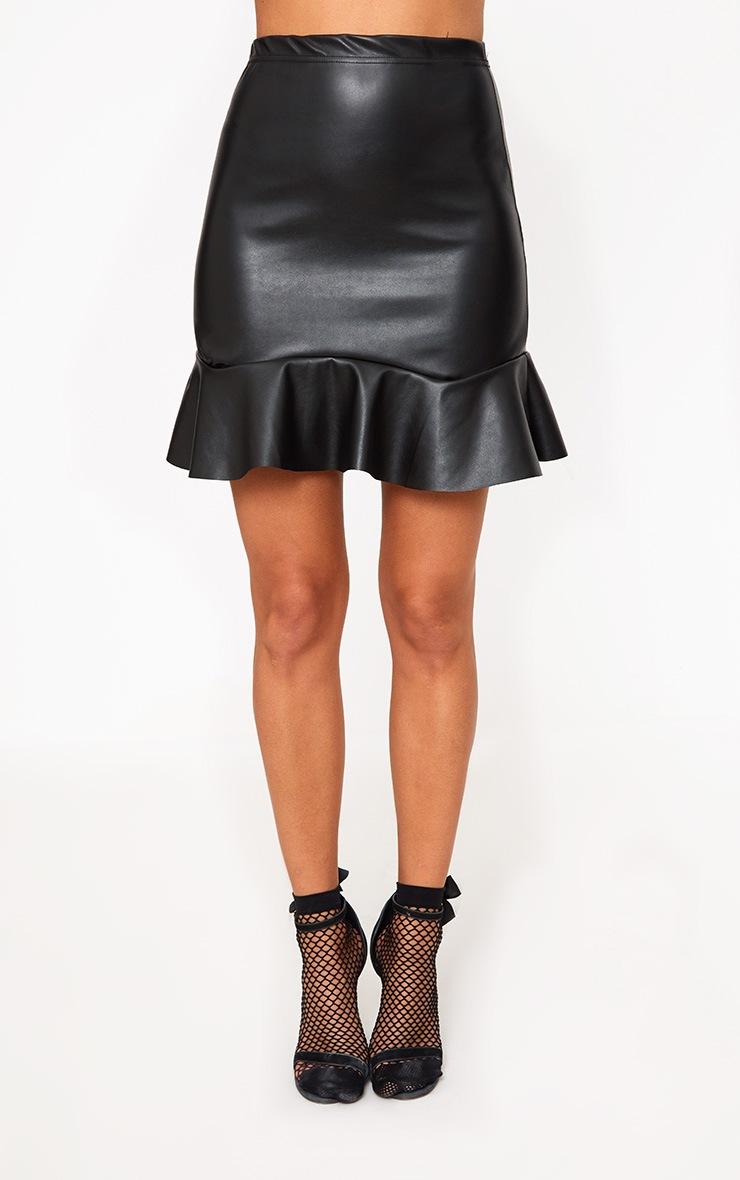 Black PU Frill Hem Mini Skirt 2