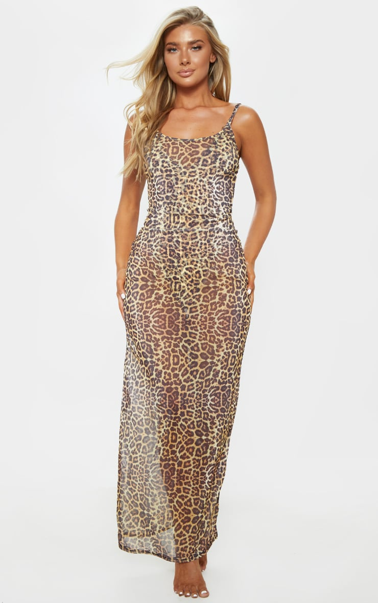 Leopard Mesh Maxi Beach Dress 1