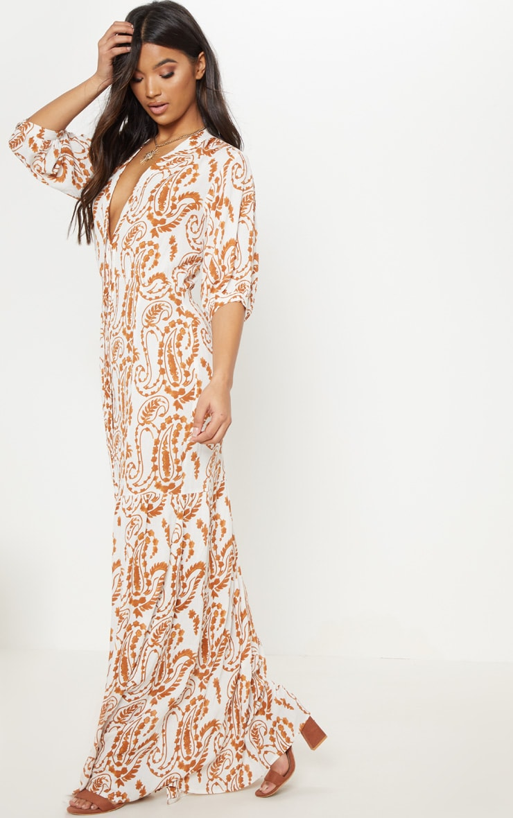 White Paisley Print Button Front Split Maxi Dress 4