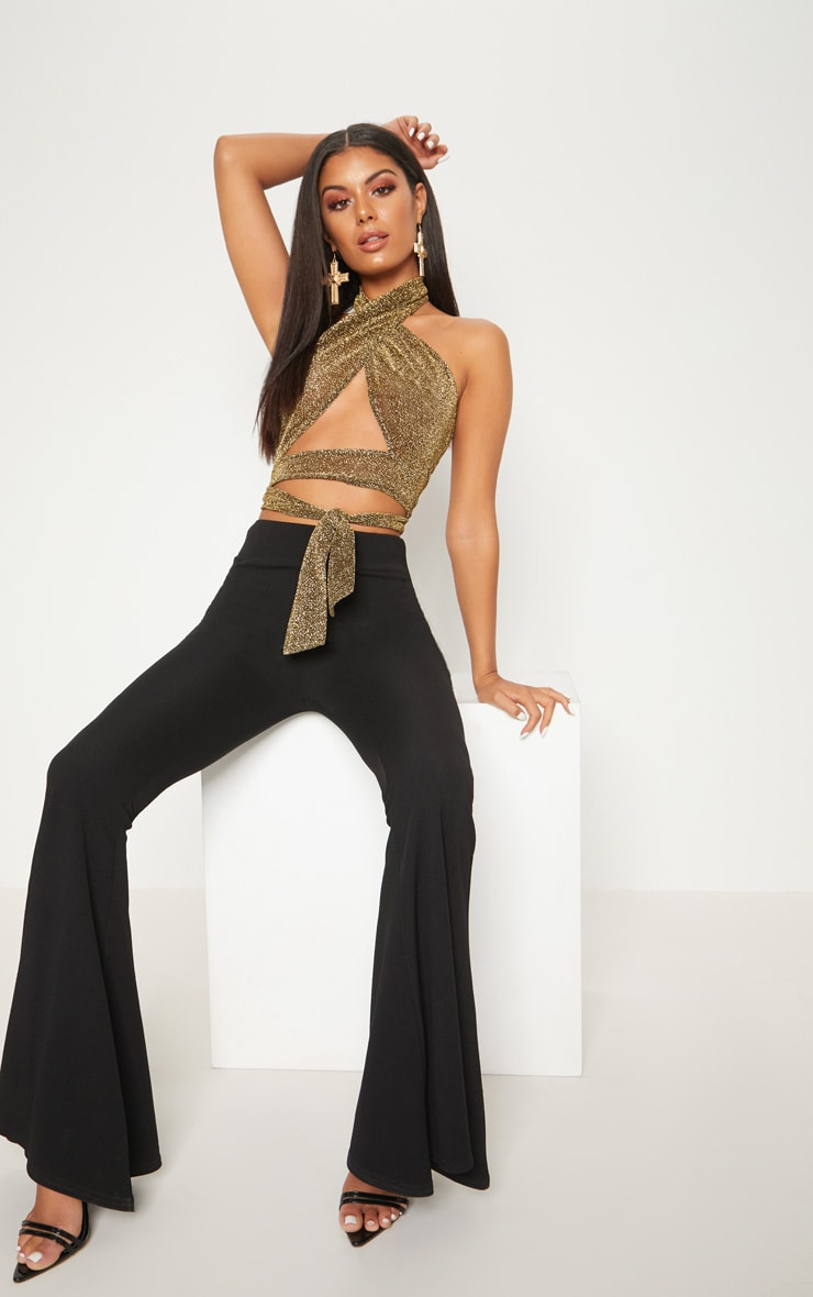 Gold Lurex Wrap Front Crop Top  1