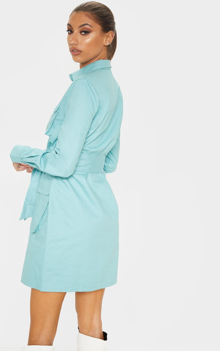 Tall Dusty Turquoise Utility Tie Waist Shirt Dress  2