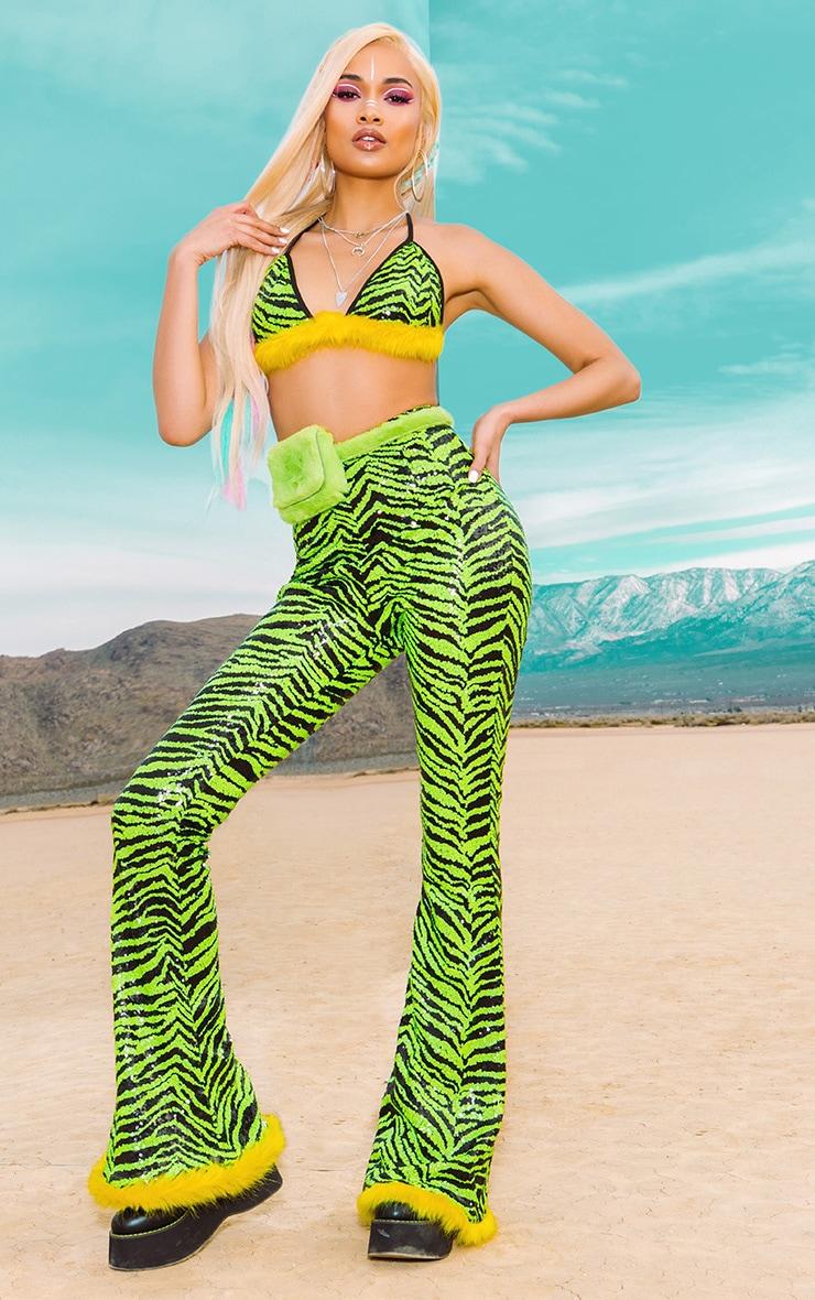 Lime Zebra Sequin Faux Fur Trim Flare Trousers