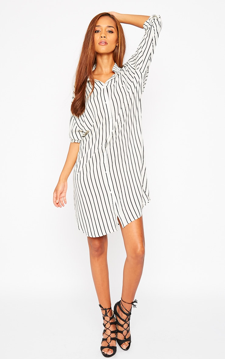 Bria Cream Stripe Shirt Dress 6
